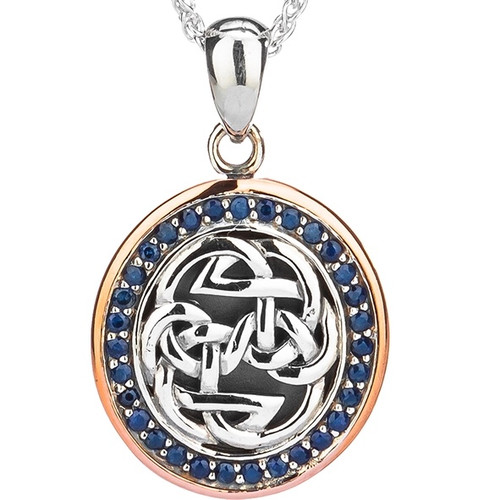 S/sil Oxidized + 10k Rose Blue Sapphire Lewis Knot - Path of Life Pendant  By Keith Jack