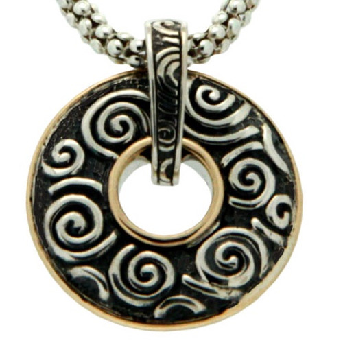 S/S and 10k Gold Oxidized Leaves and Spirals Reversible Pendant PPX6025 KEITH JACK