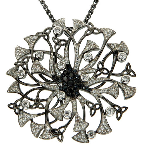 S/S RP and White and Black CZ Night and Day Flower Pendant PPS0109 KEITH JACK