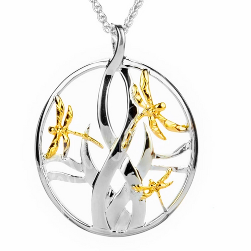 DRAGONFLY IN REEDS PENDANT LARGE in Sterling Silver and 10k Yellow Gold By Keith Jack PPX4802