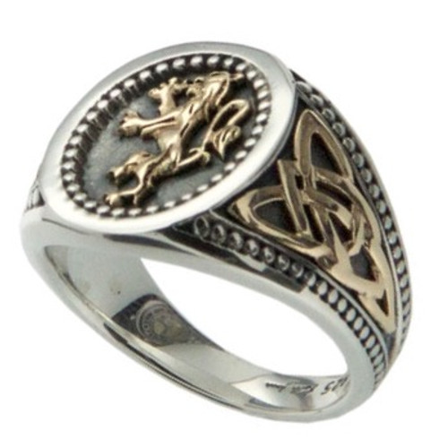 LION RAMPANT RING LARGE in Sterling Silver and 10k Yellow Gold by KEITH JACK  PRX6982