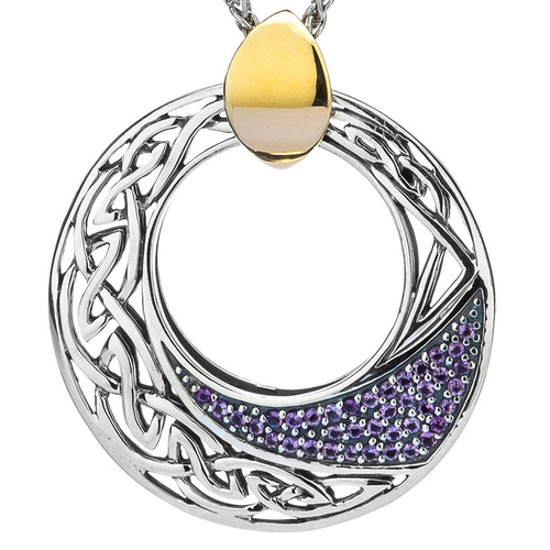 S/sil + 10k Comet  Amethyst Pendant with Gold Bail By Keith Jack