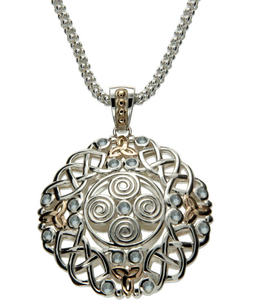 S/S and 10k Gold Woven Spiral with 2.5mm Light Blue Topaz Lg Pendant PPX7401-BT KEITH JACK