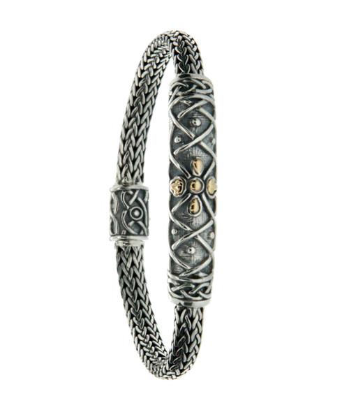 """S/sil + 18k Labyrinth Petal Oxidized 7.5"""" Bracelet By Keith Jack"""