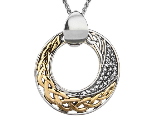 S/sil + 10k Comet White Topaz Pendant with Gold Eternity Knot By Keith Jack