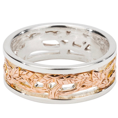 """S/sil + 10k Rose Gold TREE OF LIFE """"Awe"""" Ring   Sizes 5-13 By KEITH JACK"""