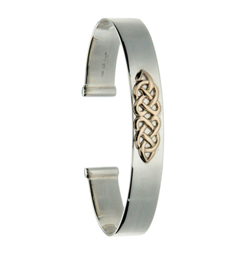 S/S and 10k Gold Celtic Knot Bangle Bracelet PBX1227 KEITH JACK