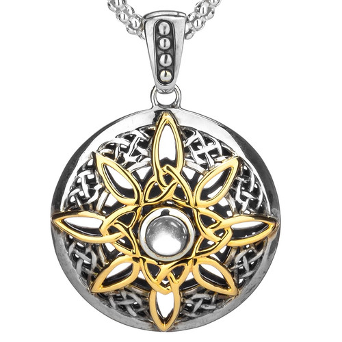 S/sil + 10k White Topaz Cab (6mm) Compass Pendant By Keith Jack