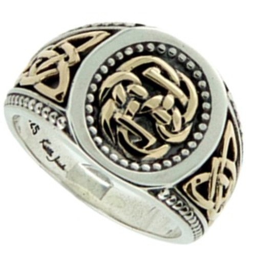 S/sil Oxidized + 10k Path of Life Large Ring (Tapered)   Sizes 5-15 By Keith Jack