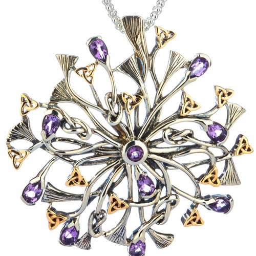 S/sil + 10k Rhapsody with 3.5mm Pear Shaped Amethyst Pendant By Keith Jack