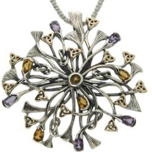 S/S and 10k Gold Rhapsody with 3.5mm Pear Shaped Amethyst and Citrine Pendant PPX7399-AM/CT KEITH JACK