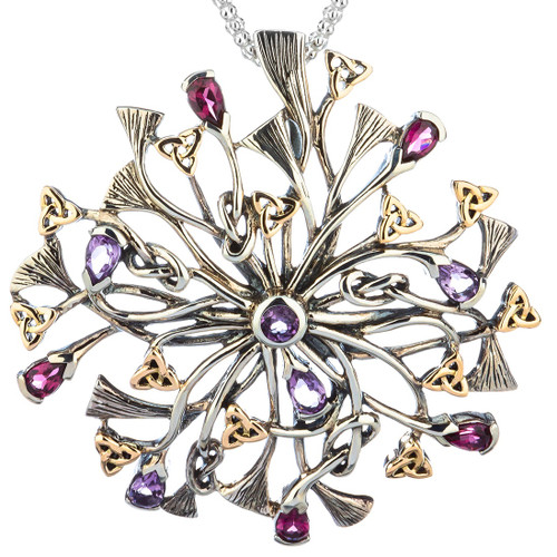 S/sil + 10k Rhapsody with 3.5mm Pear Shaped Amethyst and Rhodolite Pendant By Keith Jack