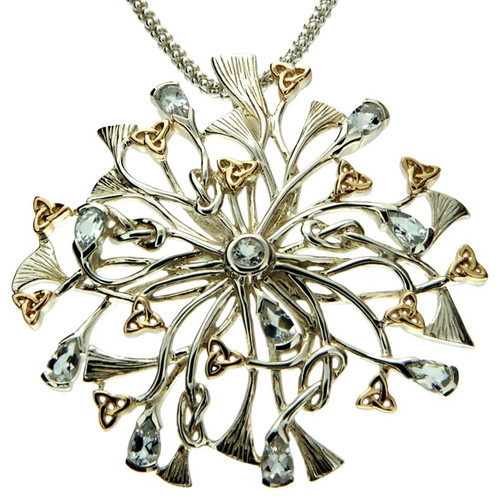 S/sil + 10k Rhapsody with 3.5mm Pear Shaped Sky Blue Topaz Pendant By Keith Jack