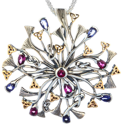 S/sil + 10k Rhapsody with 3.5mm Pear Shaped Iolite and Rhodolite Pendant By Keith Jack