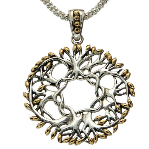 TREE OF LIFE ROUND PENDANT LARGE in Sterling Silver and 18k Yellow Gold By KEITH JACK PPX9029