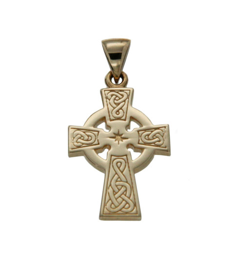 10K Yellow Gold Celtic Cross Small Pendant By KEITH JACK PCRG3045-10K