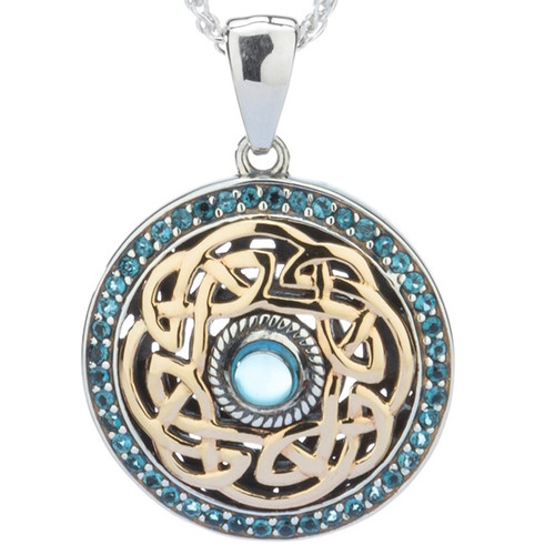 S/sil + 10k London Blue Topaz Eternity Knot Path of Life Pendant By Keith Jack