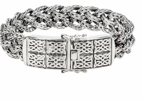 """NORSE FORGE DRAGON WEAVE BRACELET in Oxidized Sterling Silver  by KEITH JACK PBS7950 in  sizes 7"""" to 9.5"""""""