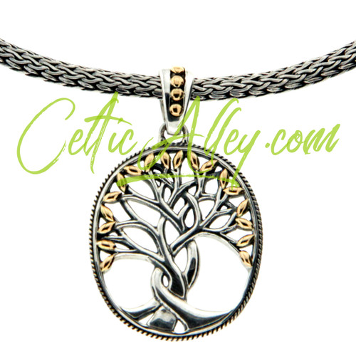 """S/sil + 18k TREE OF LIFE Pendant on 18"""" Dragon Weave Chain By KEITH JACK"""
