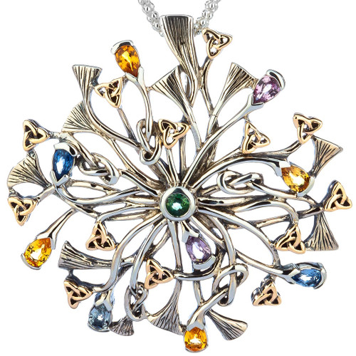 S/sil + 10k Rhapsody with 3.5mm Pear Shaped Multicolored Sapphire Pendant By Keith Jack