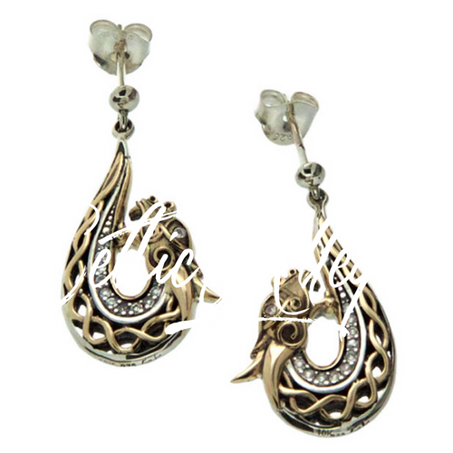 S/sil + 10k White Sapphire Dragon Post Earrings By Keith Jack