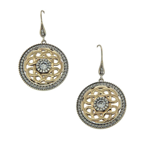 Sterling Silver and 10k Yellow CZ Brave Heart Hook Earrings by  KEITH JACK  PEX8582