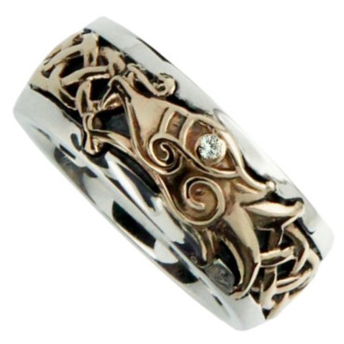 S/sil Oxidized + 10k with White Sapphire Dragon Ring   Sizes 6-15 By Keith Jack