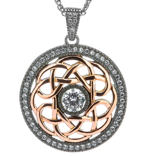 S/silver Ruthenium + 10k Rose CZ Brave Heart Pendant By Keith Jack