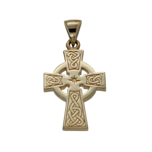 14K Yellow Gold Celtic Cross Small Pendant By KEITH JACK PCRG3045-14K