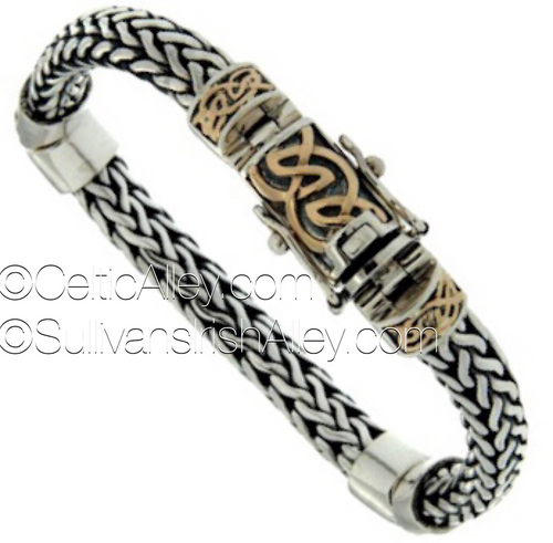 PBX7260 This bracelet is part of the Dragon Weave Collection. Materials:  Sterling Silver and 10k Yellow Gold Lengths: 6.7″, 7.1″, 7.5″, 7.9″, 8.1″, 8.3″, 8.7″, 9″, 9.5″, 9.7″ Details:  tongue and groove clasp with figure 8 safety latches Wear this bracelet to signify life's continually evolving path.