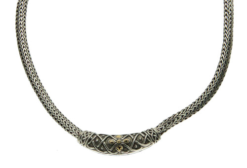 S/S and 18k Gold Labyrinth Petal Oxidized Necklet PNX9411 KEITH JACK