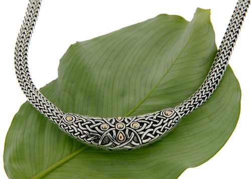 S/S and 18k Gold Labyrinth Oxidized Necklet PNX9200 KEITH JACK