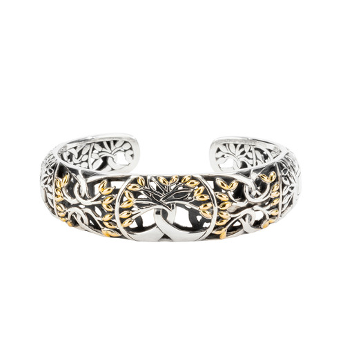 TREE OF LIFE Bangle in Sterling Silver and 18K gold by By KEITH JACK PBX9003