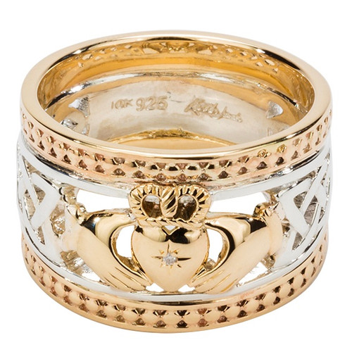 "S/S and 10k Gold ""Claddagh Shield"" Ring (1mm) Dia Set Heart and 10k Gold Beaded Rails (Tapered) 6-15 PRX3645 KEITH JACK"