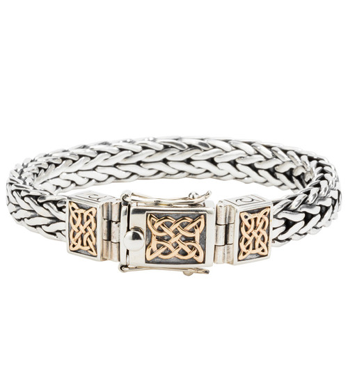 "Sterling Silver and 10k Gold Heavy Celtic Square Dragon Weave Bracelet PBX7800 by KEITH JACK in various sizes 7"" to 9.5"""