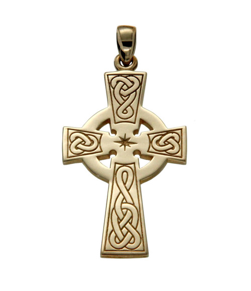 10K Yellow Gold Celtic Cross Large Pendant By KEITH JACK PCRG3043-10K