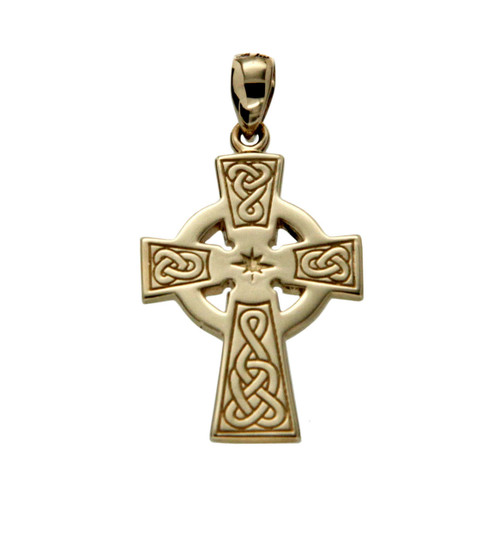 14K Yellow Celtic Cross Medium Pendant By KEITH JACK PCRG3044-14K