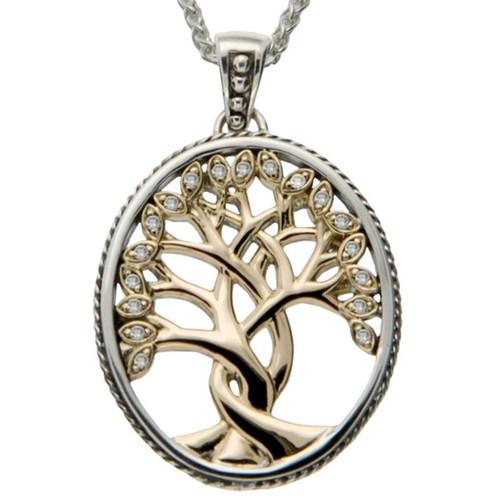 S/sil + 10k TREE OF LIFE with 18 Diamond Pendant By KEITH JACK
