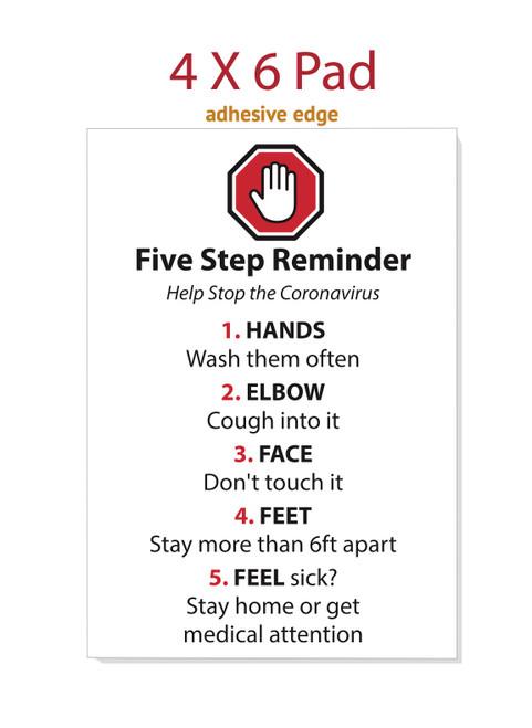 Five Step Reminder 4 X 6 Pad