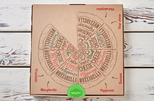 Green Enjoy Stickers, Tamper Evident Destructible Seals Pizza Box Example