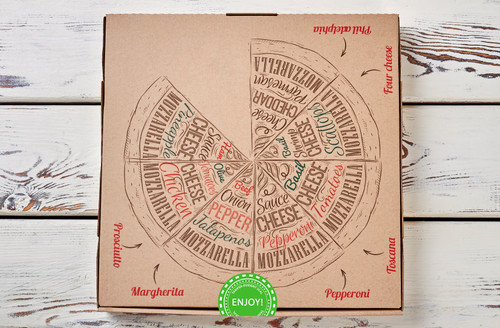 Green Enjoy Stickers, Tamper Evident Destructible Seals Pizza Box Example