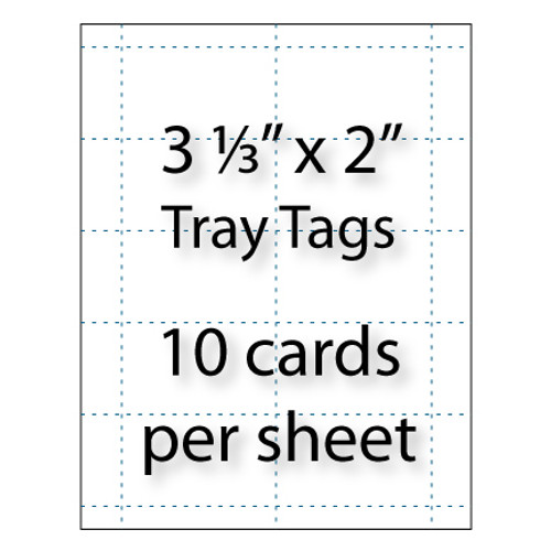 "Tray Tags    3-1/3"" x 2"" 
