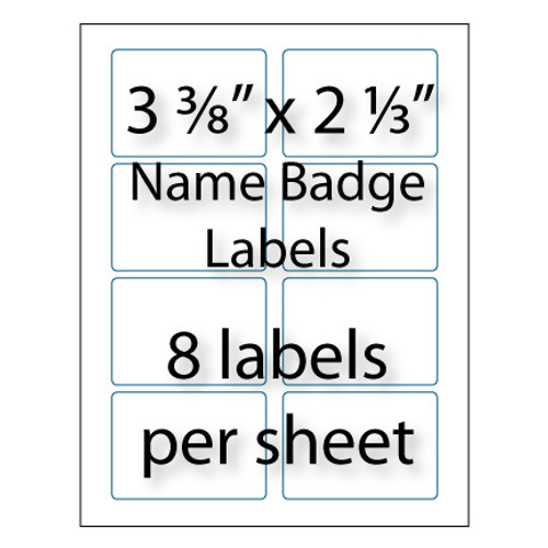 "Name Badge Labels 3-3/8"" x 2-1/3"" 