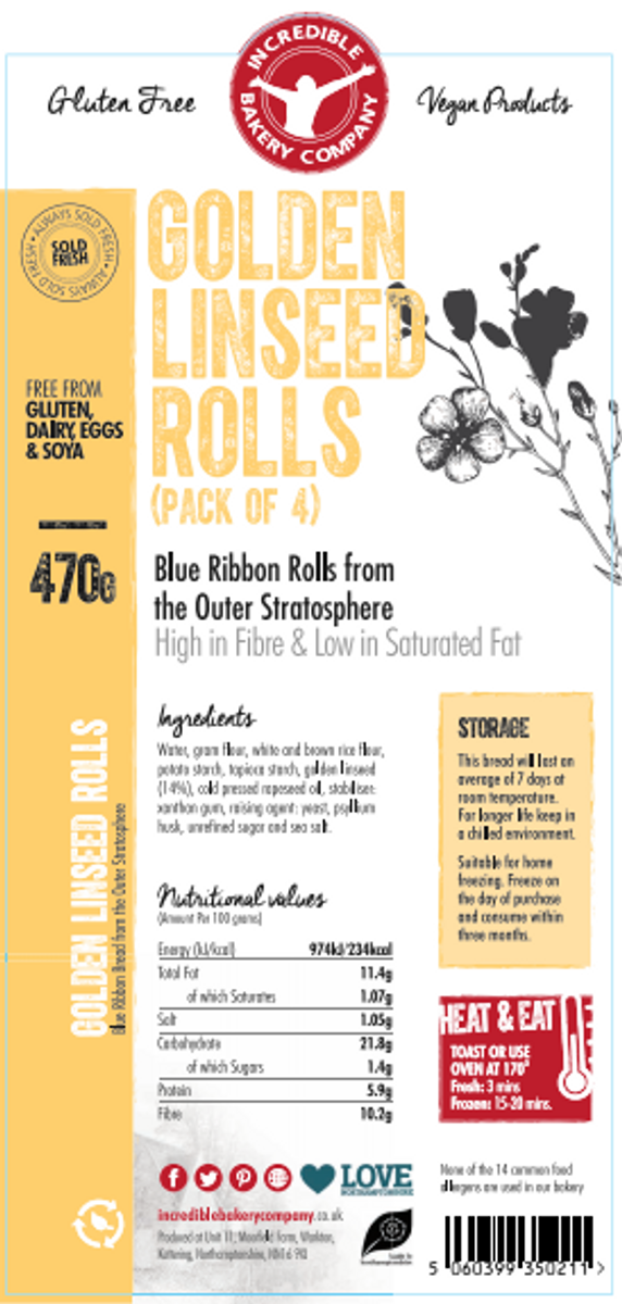 Golden Linseed Rolls (4 in a pack)