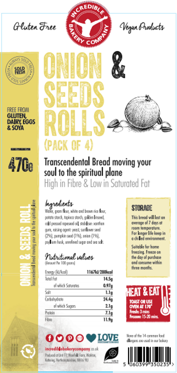 Onion & Seeds Rolls (4 in a pack)