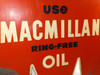 Vintage Tin Double Sided Macmillan Ring-Free Oil Advertising Sign Motor Oil