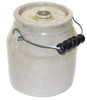 Small Antique Stoneware Crock with Lid and Handle Primitive Crockery Jar