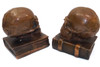 Pair of Antique Armor Bronze Co. Bronze Clad Human Skull Medical Bookends