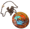 Abstract Modernist Swirled Enameled Copper Necklace Mid-Century Pendant