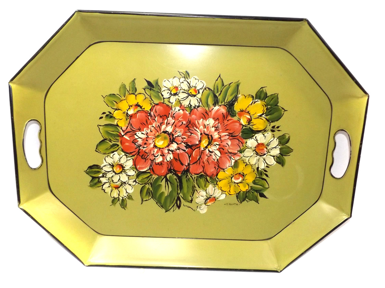 Retro Vintage Metal Octagon Hand Painted Signed Toleware Serving Tray E Kloth
